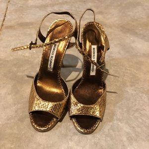 Manolo Blahnik Gold Bronze Strappy Heel Sandal